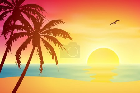 Illustration for A Tropical Sunset, Sunrise with Palm Trees - Royalty Free Image