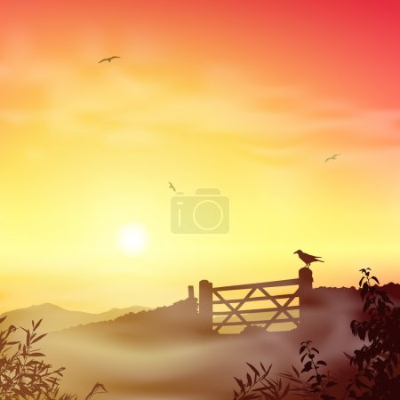 Illustration for A Misty Landscape with Farm Gate and Sunrise, Sunset - Royalty Free Image