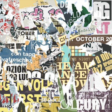 Illustration for A Grunge Background with Old Torn Posters - Royalty Free Image