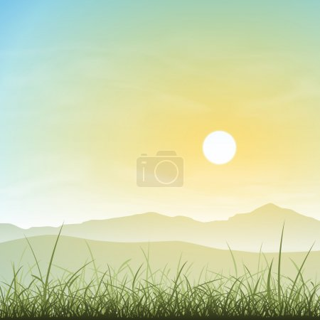 Illustration for A Misty Landscape with Grass and Sunset, Sunrise - Royalty Free Image