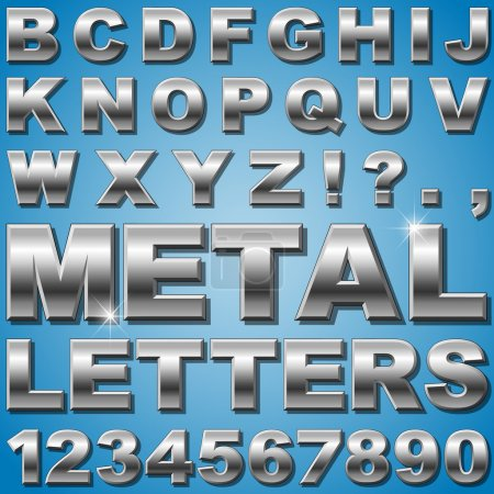 Illustration for An Alphabet Sit of Shiny Metal Letters and Numbers - Royalty Free Image