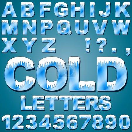 Illustration pour Un alphabet de lettres froides et de chiffres avec neige et glace - image libre de droit