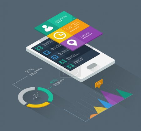 Illustration for Mobile phone infographics in flat color design - Royalty Free Image