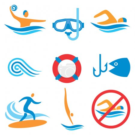 Illustration for Colorful pictograms with water sport activities. Vector illustration. - Royalty Free Image