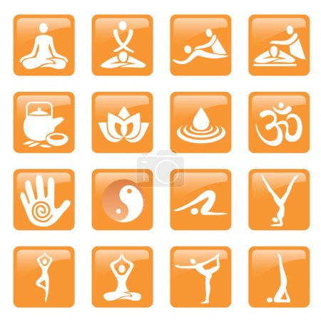 Illustration for Set of yoga, massage and spa icons and web buttons. Vector illustration. - Royalty Free Image