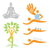 Ilustrations of yoga and alternative medicine symbols Vector illustration