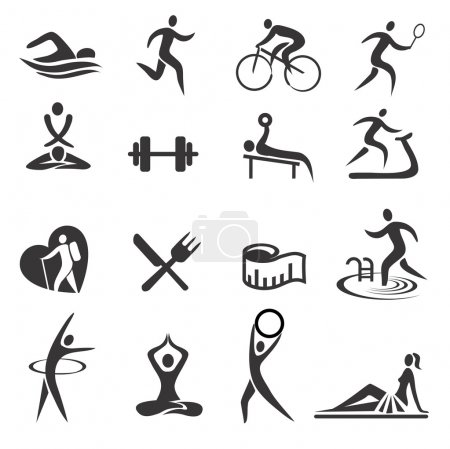 Illustration for Icons with sport and healthy lifestyle activities. Vector illustration. - Royalty Free Image
