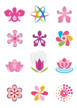 Illustration for Set of color design elements, stylized abstracted flowers. Vector illustration. - Royalty Free Image