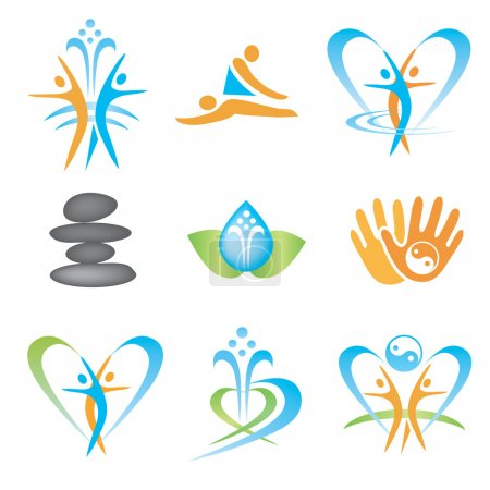 Illustration for Set of icons with spa, massage, yoga, health symbols. Vector illustration. - Royalty Free Image