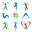 Icons with fitness and healthy lifestyle activitie...