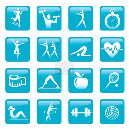 Blue Fitness icons buttons