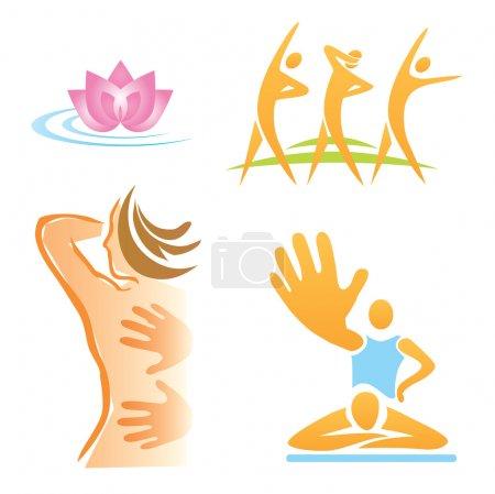 Illustration pour Ensemble de massages, fitness, icônes spa. Illustration vectorielle . - image libre de droit