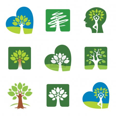 Illustration for Set of tree icons and symbols. Vector illustration. - Royalty Free Image