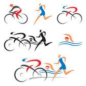 Triathlon cycling fitness icons