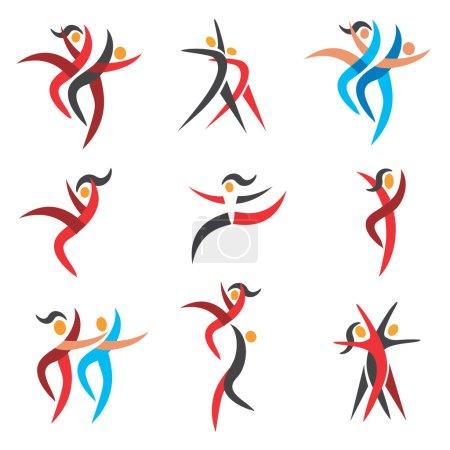 Illustration pour Ensemble de danse moderne, icônes disco. Illustration vectorielle . - image libre de droit