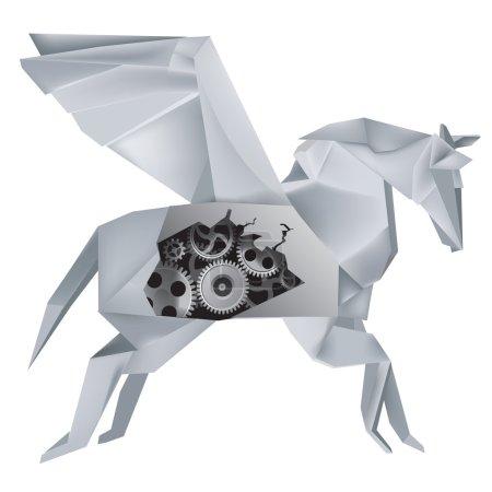 Origami mechanical Pegasus
