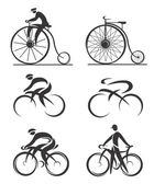 Differently styled icons of contemporary and historical bicycles and cyclists  Vector illustration