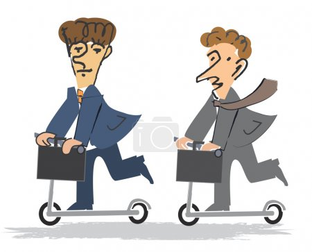 Two Businessmen on the Scooter