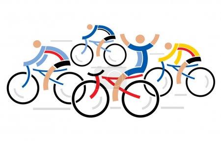 Four racing cyclists