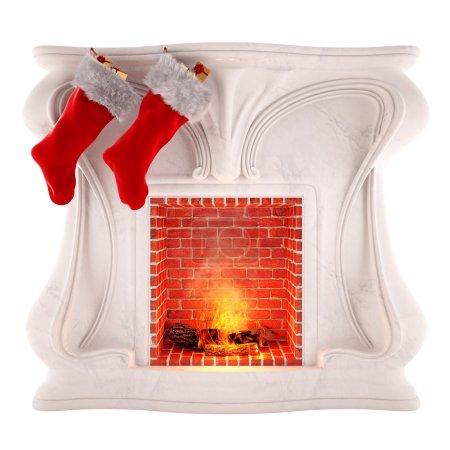 Christmas fireplace decoration isolated on white background