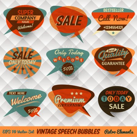 Illustration for Vintage Style Speech Bubbles Cards - Royalty Free Image