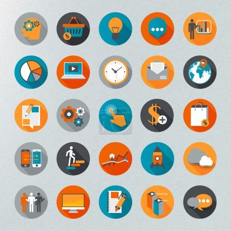 Illustration pour Ensemble d'icônes du concept design plat - image libre de droit