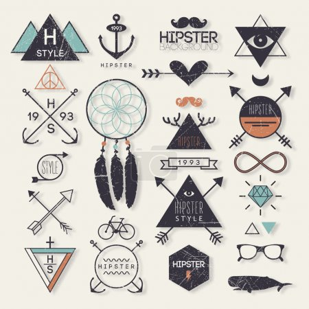 Hipster style elements and labels