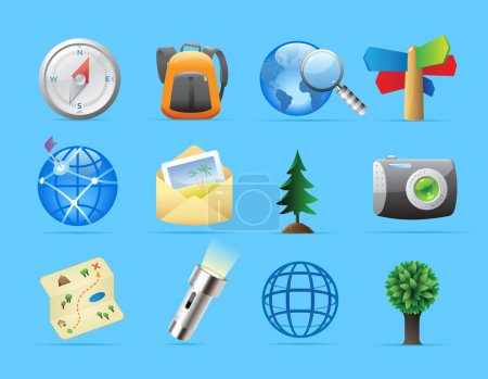 Illustration for Icons for tourism and backpacking. Vector illustration. - Royalty Free Image