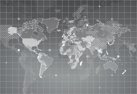 Illustration for World map with textured countries. Vector illustration. - Royalty Free Image