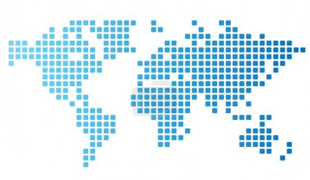 Illustration for Dotted world map made of rounded rectangles. Vector illustration. - Royalty Free Image