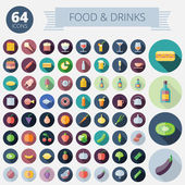 Flat Design Icons For Food Drinks Fruits and Vegetables Vector eps10 Easy to recolor Transparent shadows and relief in separate layers