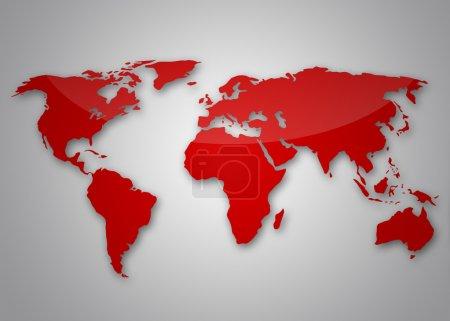 Photo pour Image d'une carte du monde rouge clair - image libre de droit