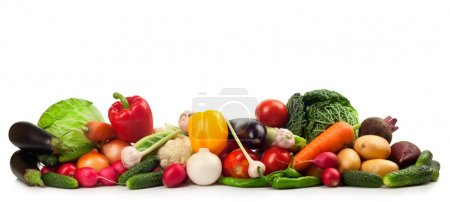 Photo for Fresh ripe vegetables on white background - Royalty Free Image