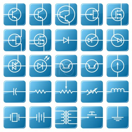 Icon set of electrical circuits.