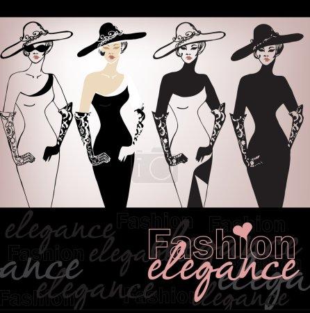 Illustration for Illustrated beautiful elegant woman - vector illustration - Royalty Free Image