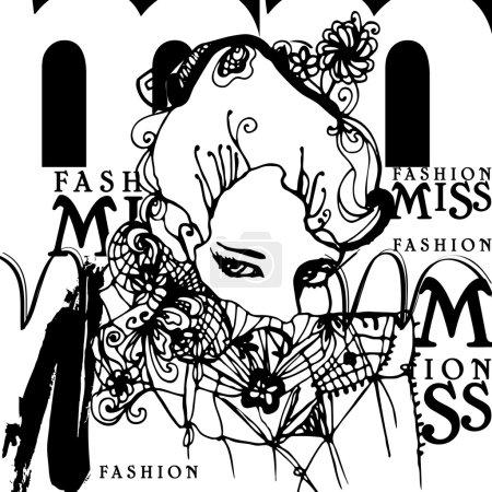Illustration pour Illustré de fille avec une écharpe de dentelle - image libre de droit