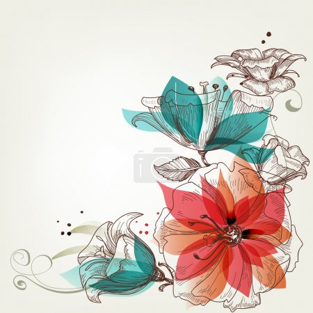 Illustration for Vintage flowers background - Royalty Free Image