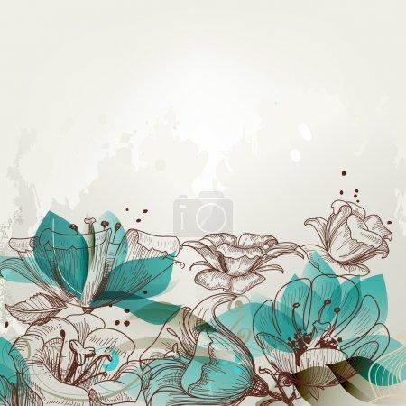 Photo pour Fond floral rétro - image libre de droit