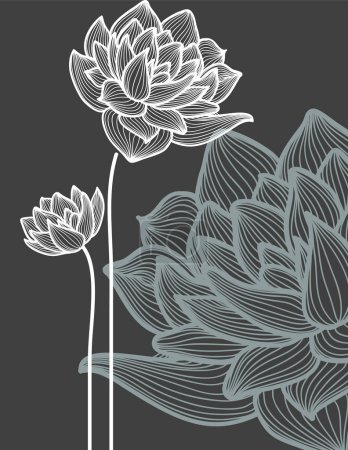 Vector flowers over black background