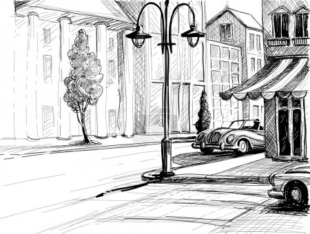 Illustration for Retro city sketch, street, buildings and old cars vector illustration, pencil on paper style - Royalty Free Image