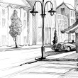 Retro city sketch, street, buildings and old cars ...