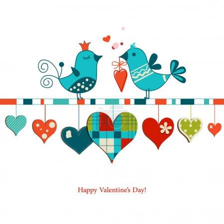 Cute birds sharing love , Valentines day design