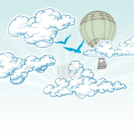 Illustration for Hot air balloon over blue sky vector illustration, holiday travel concept - Royalty Free Image