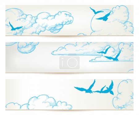 Illustration for Sky banners, clouds and blue birds vector backgrounds - Royalty Free Image