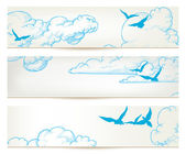 Sky banners clouds and blue birds vector backgrounds