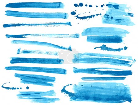 Illustration for Watercolor blue ink brush strokes collection - Royalty Free Image
