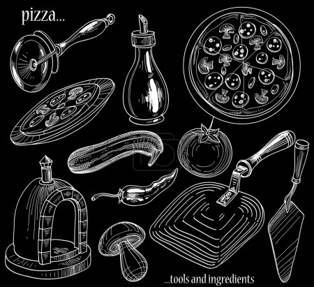 Illustration for Pizza tools and ingredients set - Royalty Free Image