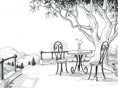 Restaurant terrace sketch
