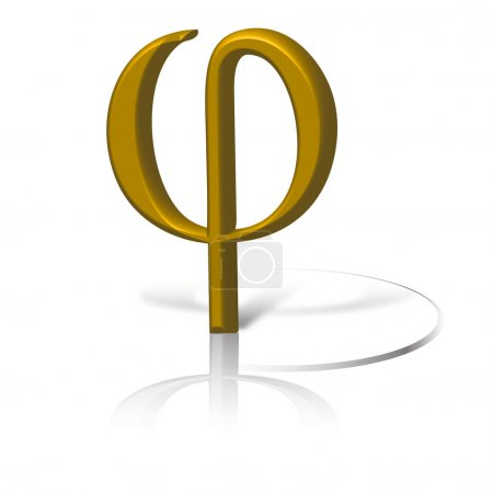 Phi symbol in gold, graphic of golden section symbol phi.