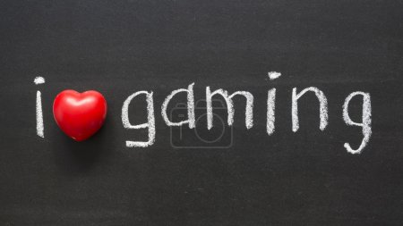 Photo for I love gaming handwritten on the school blackboard - Royalty Free Image